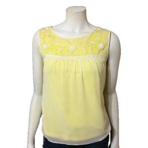 Ann Taylor | Yellow Silk Embroidered Top Size-XS